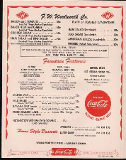 1950's Woolworth Menu CLICK to View